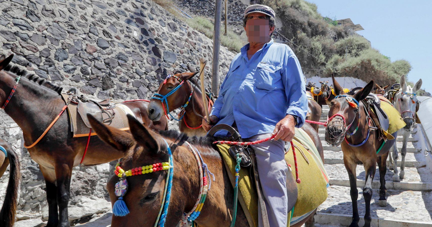 In Greece, banned fat tourists ride a donkey 87